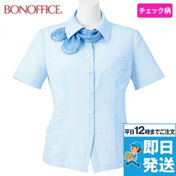 AJ0831 BONMAX/ケイティー オーバーブラウス チェック スカーフ付き