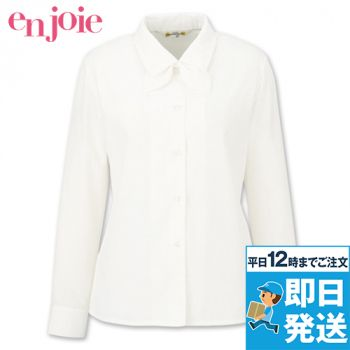 en joie(アンジョア) 01060 光沢のストライプがシャープで華やかな長袖ブラウス(リボン付) 93-01060