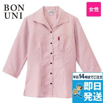 34201 BONUNI(ボストン商会) 七分袖/イタリアンカラーシャツ(女性用)ストライプ