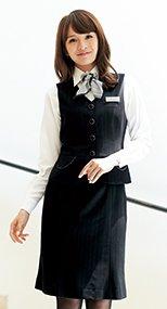 en joie(アンジョア) 51702 上質な素材感でシルバーラメストライプのマーメイドスカート 93-51702