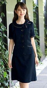 56603 en joie(アンジョア) ウエストの圧迫感を感じさせない美シルエットのAラインスカート シャドーボーダー 93-56603