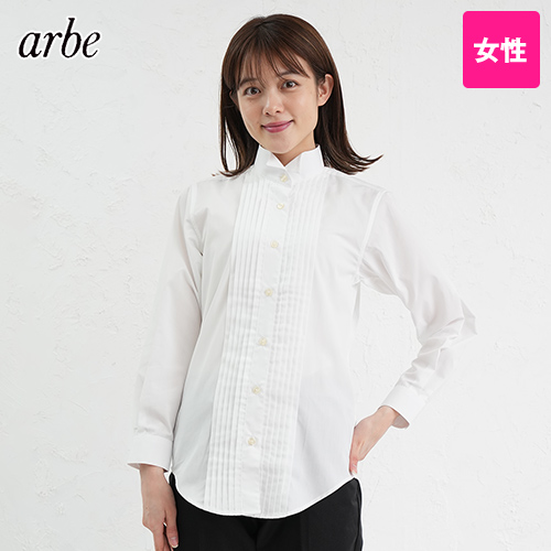 KM-4091 チトセ(アルベ) ピンタックウイングカラーシャツ(女性用)