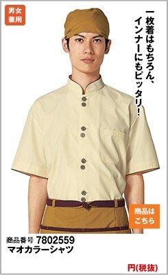 半袖の黄色マオカラーシャツ