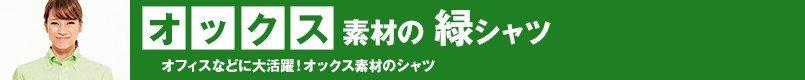 オックス素材の緑シャツ