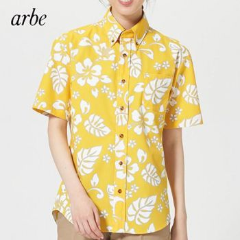 ボタンダウン付き半袖アロハシャツ