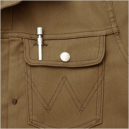 左胸 ペンが出し入れしやすい使用のペン差し付ポケット