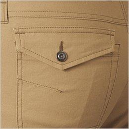 左側 ピスフラップ付きポケット(ドットボタン止め)