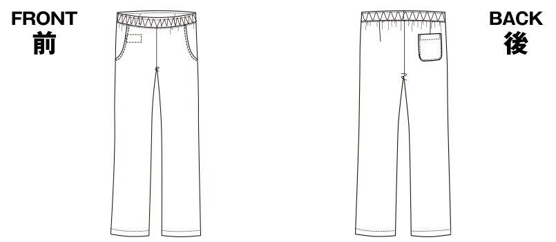 6013SC FOLK(フォーク) レディースストレートパンツウエスト総ゴムのハンガーイラスト・線画