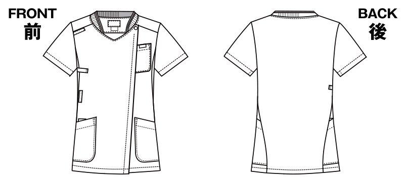 7043SC FOLK(フォーク) ZIP SCRUB レディスジップスクラブのハンガーイラスト・線画