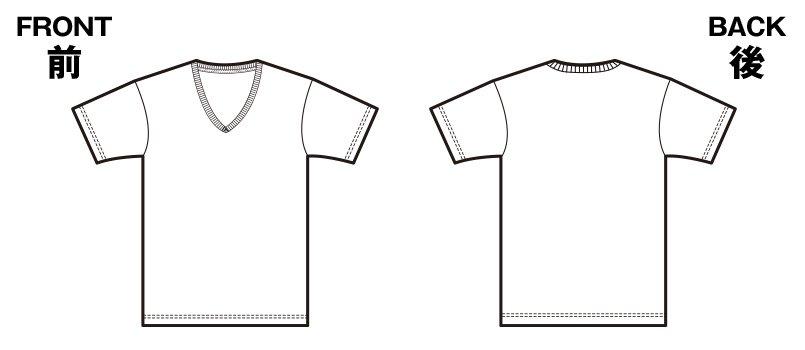 85-5746 ファインジャージー Vネック Tシャツ(4.7オンス)のハンガーイラスト・線画