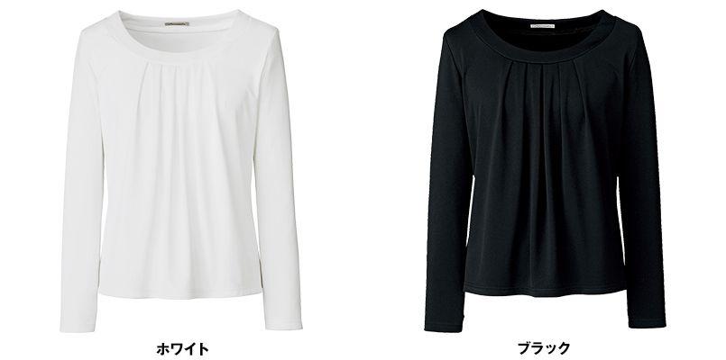 BONMAX KK7502 [通年]アミーザ 胸元タック切替え長袖ニット 色展開