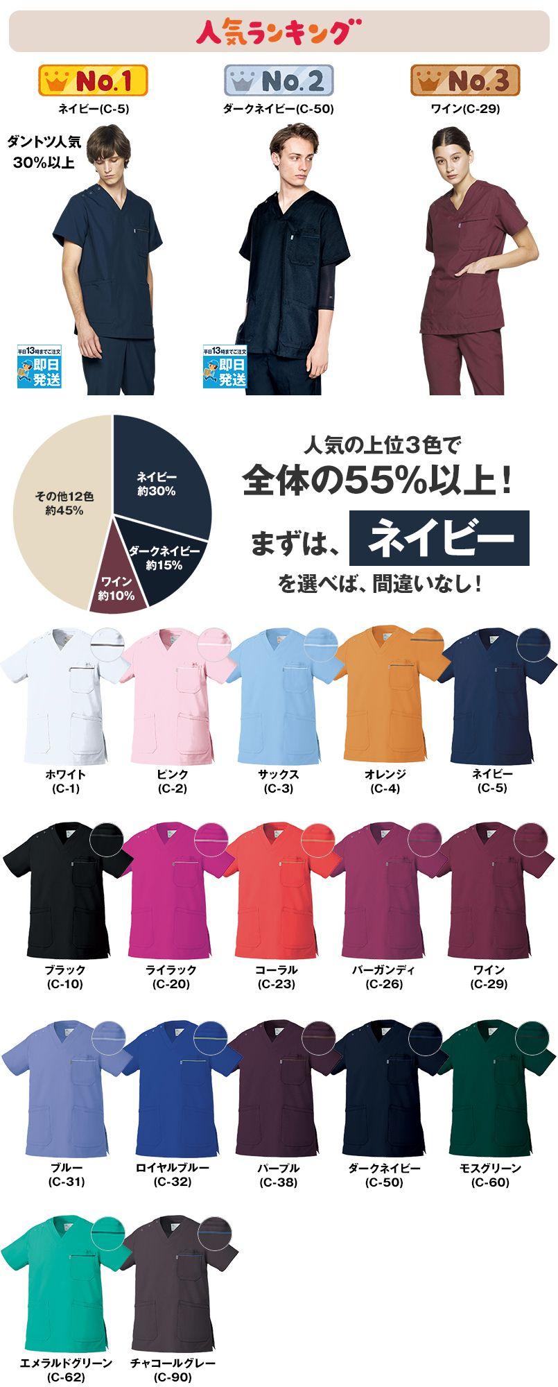 MZ-0018 ミズノ(mizuno) 人気No1スクラブ (男女兼用) 色展開