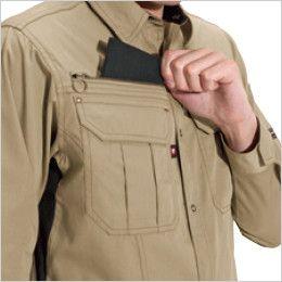 バートル 6103 [春夏用]T/Cライトチノ長袖シャツ(男女兼用)  レベルブック収納ポケット