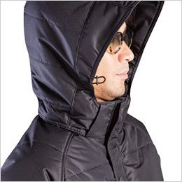 バートル 7510 リップクロス防寒ジャケット(大型フード付)(男女兼用) サイズ調整が可能なスピンドル付き