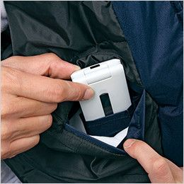 自重堂 48463 防水防寒ハーフコート(フード付き・取り外し可能) 携帯電話収納ポケット
