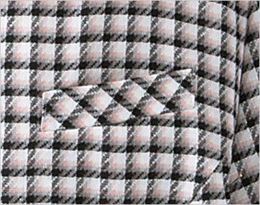 en joie(アンジョア) 26390 丸襟とポケットのリボンがかわいいチェック柄オーバーブラウス ネームプレートとペンなどを区分け収納できる名札ポケットと左胸ポケット