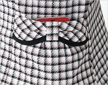 en joie(アンジョア) 26390 丸襟とポケットのリボンがかわいいチェック柄オーバーブラウス 大きめスマホが入るポケット