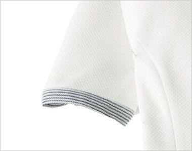 en joie(アンジョア) 66420 ストレッチ×防シワで清潔感のあるニットワンピース(女性用) 無地 ボーダー柄のかわいい半袖の袖口
