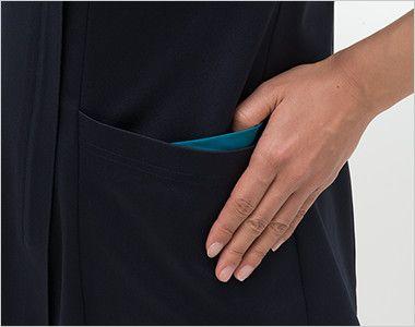 RF5122 ナガイレーベン(nagaileben) スクラブ(女性用) おしゃれで収納力のある二重構造の両脇ポケット