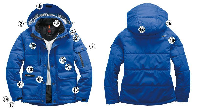 バートル 7510 リップクロス防寒ジャケット(大型フード付)(男女兼用) 商品詳細・こだわりPOINT