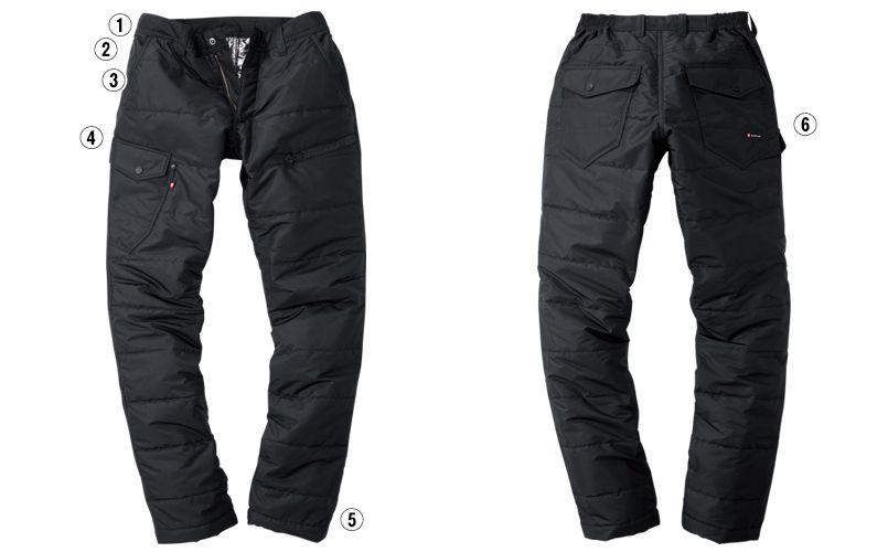 バートル 7512 リップクロス防風防寒カーゴパンツ(男女兼用) 裾上げ不可 テーパードシルエット 商品詳細・こだわりPOINT