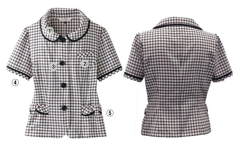 en joie(アンジョア) 26390 丸襟とポケットのリボンがかわいいチェック柄オーバーブラウス 商品詳細・こだわりPOINT