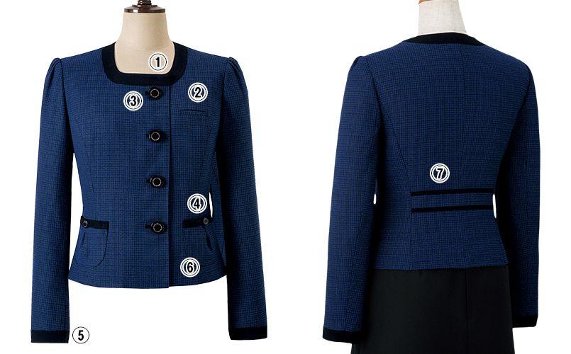 en joie(アンジョア) 81730 知的エレガンスで高級感のあるブルーツイード素材ジャケット 商品詳細・こだわりPOINT