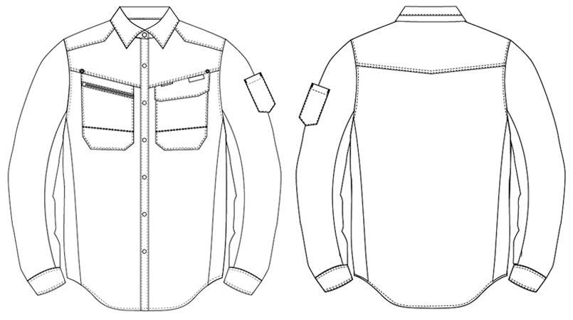 AZ30635 アイトス AZITOヘリンボーン シャツ/長袖 ハンガーイラスト・線画