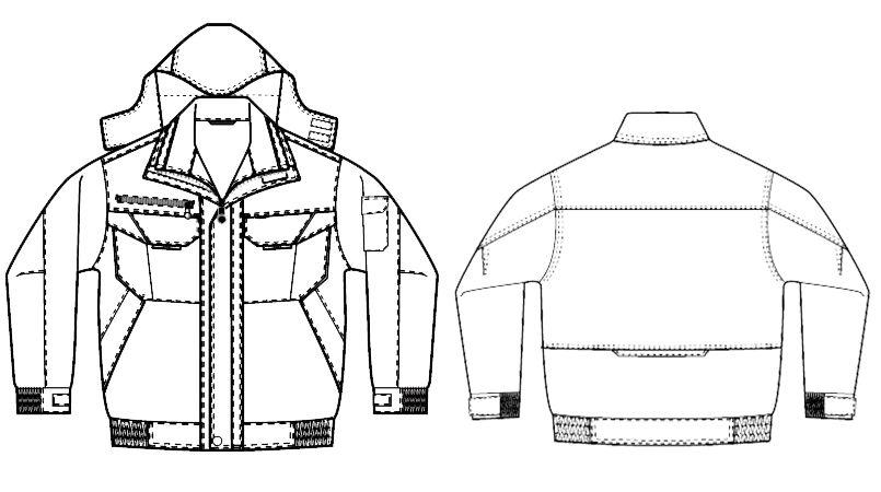 AZ8461 アイトス エコノミー防寒ブルゾン[フード付き・取り外し可能] ハンガーイラスト・線画
