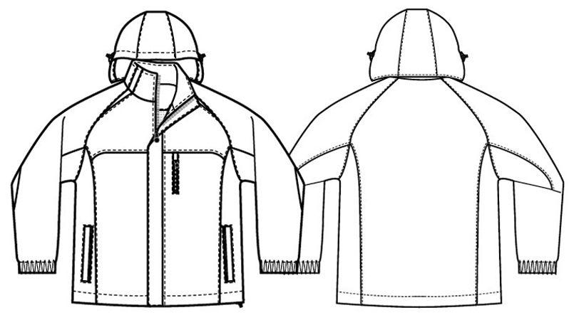 AZ8471 アイトス 業務用 防風防寒ショートコート[フード付・取外し可能] ハンガーイラスト・線画