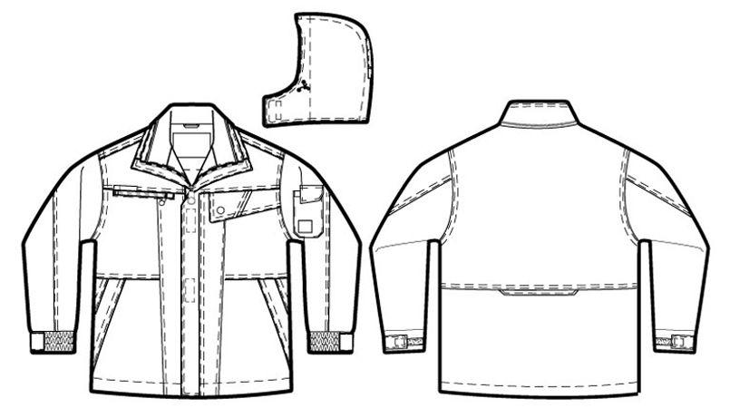 AZ8560 アイトス 防風防寒コート[フード付き・取り外し可能] ハンガーイラスト・線画