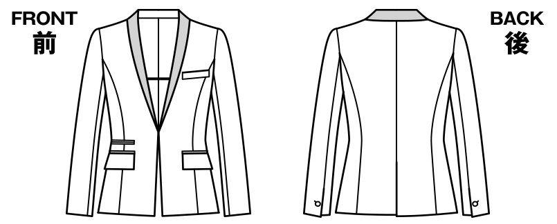 BONMAX AJ0243 [通年]インプレス 前ホック留めのジャケット 無地 ハンガーイラスト・線画