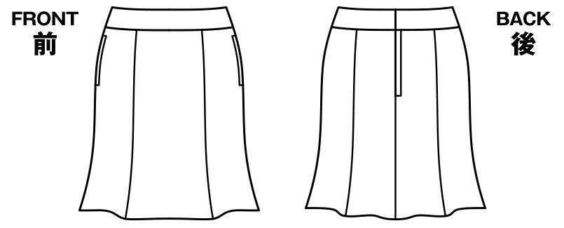BONMAX AS2245 [通年]アウトラスト2 マーメイドスカート ストライプ[温度調整機能付] ハンガーイラスト・線画