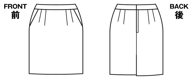 BONMAX AS2276 [通年]ジュビリー タイトスカート 無地 ストレッチ&抗菌防臭加工 ハンガーイラスト・線画