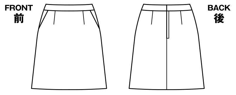 AS2284 BONMAX/リアン Aラインスカート ストライプ ハンガーイラスト・線画