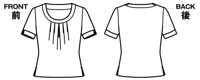 BONMAX KK7808 [通年]アミーザ タック切替え半袖ニット・カットソー ハンガーイラスト・線画
