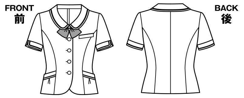 BONMAX LJ0745 [春夏用]アミティエ オーバーブラウス チェック ハンガーイラスト・線画