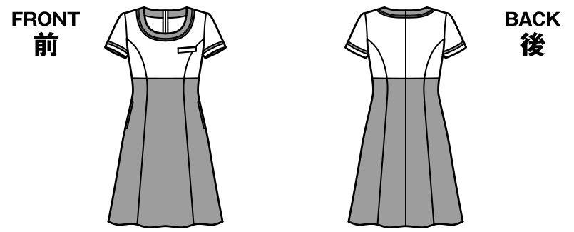 [在庫限り/返品交換不可]LO5709 BONMAX/クラリティー ワンピース(女性用) チェック ハンガーイラスト・線画