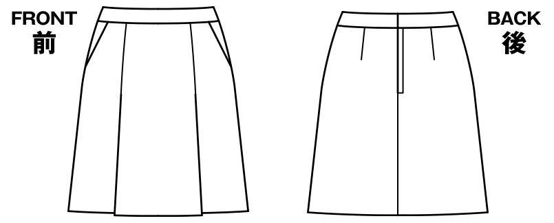 BONMAX LS2191 [通年]エミュ ペッパーツイード素材のプリーツスカート 無地 ハンガーイラスト・線画