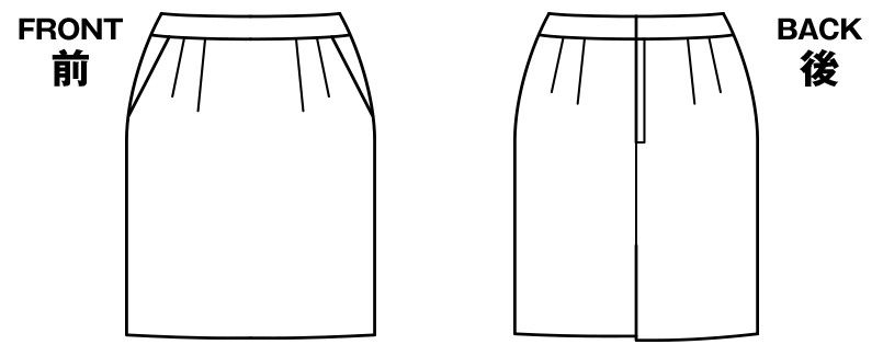 BONMAX LS2752 [春夏用]プラティーヌ ストレッチ素材のタイトスカート 無地 ハンガーイラスト・線画