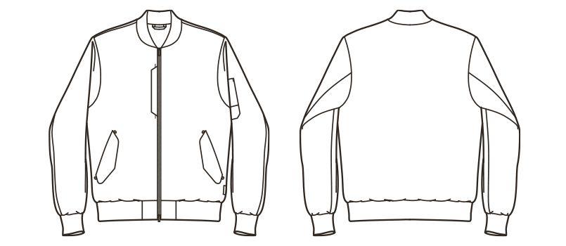 RJ0907 ROCKY デニムMA-1ミリタリージャケット(男女兼用) ハンガーイラスト・線画
