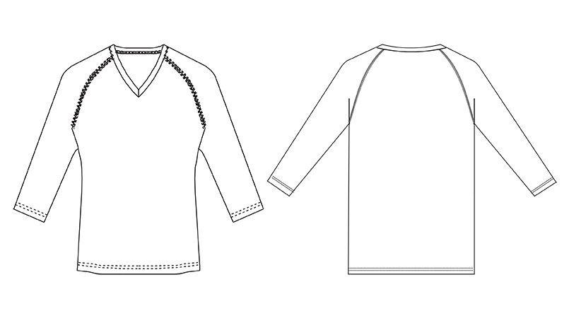 MZ-0134 ミズノ(mizuno) アンダーウェア(女性用)スクラブインナー七分袖 ハンガーイラスト・線画