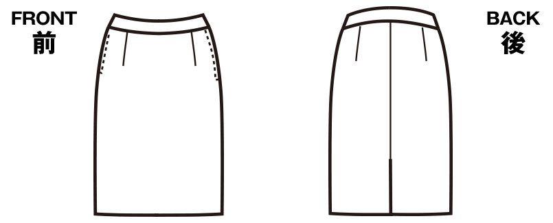 FS45812 nuovo(ヌーヴォ) バックアップウエストタイトスカート 無地 ハンガーイラスト・線画