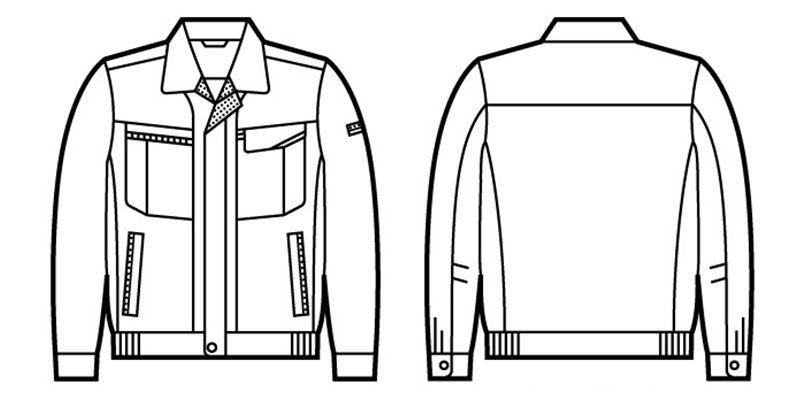 自重堂 43800 エコ 5バリュー長袖ブルゾン(製品制電JIS T8118適合) ハンガーイラスト・線画