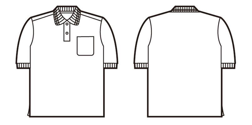 47614 自重堂 吸汗速乾半袖ポロシャツ(ポケ付き) ハンガーイラスト・線画