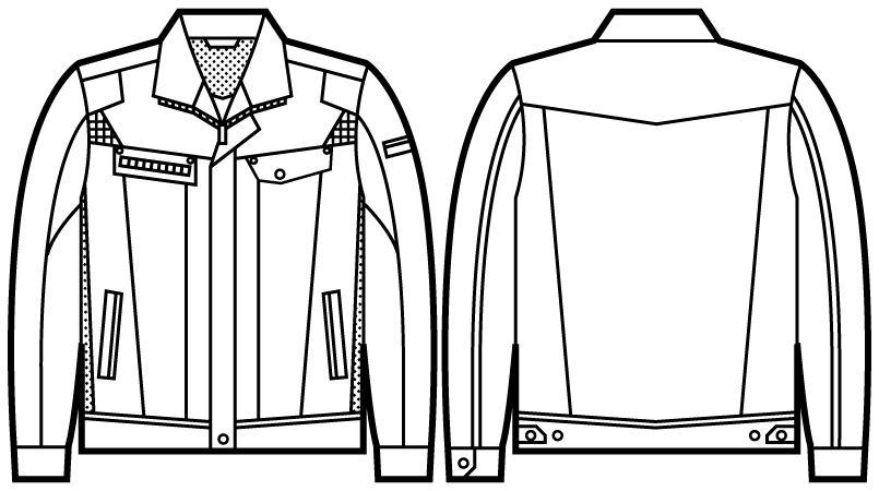 自重堂JAWIN 51500 発熱加工長袖ジャンパー ハンガーイラスト・線画
