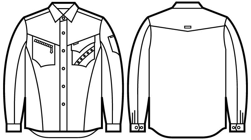 51604 自重堂JAWIN 長袖シャツ(年間定番生地使用) ハンガーイラスト・線画