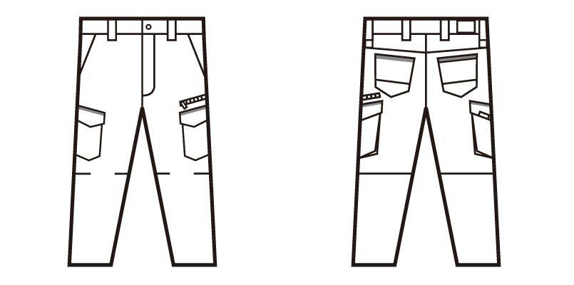 52602 自重堂JAWIN ストレッチノータックカーゴパンツ ハンガーイラスト・線画