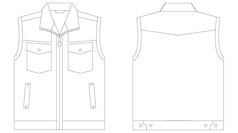 55010 自重堂JAWIN [春夏用]ベスト(綿100%) ハンガーイラスト・線画