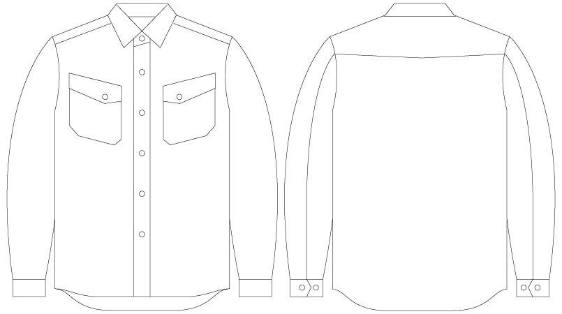 自重堂 55104 [春夏用]JAWIN 長袖シャツ(綿100%) ハンガーイラスト・線画